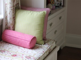 Custom cushions at the window bench