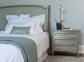 Custom bed and side table of silver leaf