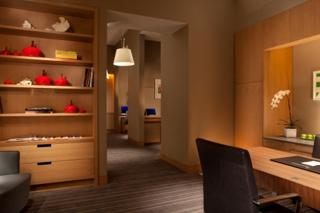 Business Centre with custom millwork and carpeting